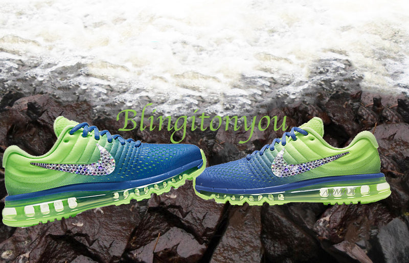 Swarovski Nike Air Max 2017 Green and Blue Shoes Blinged Out With Swarovski Crystals - Bling Nike Women's Shoes