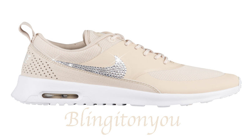 Swarovski Nike Women's Air Max Thea (Oatmeal) Customized with Crystal Clear Swarovski Crystal Rhinestones