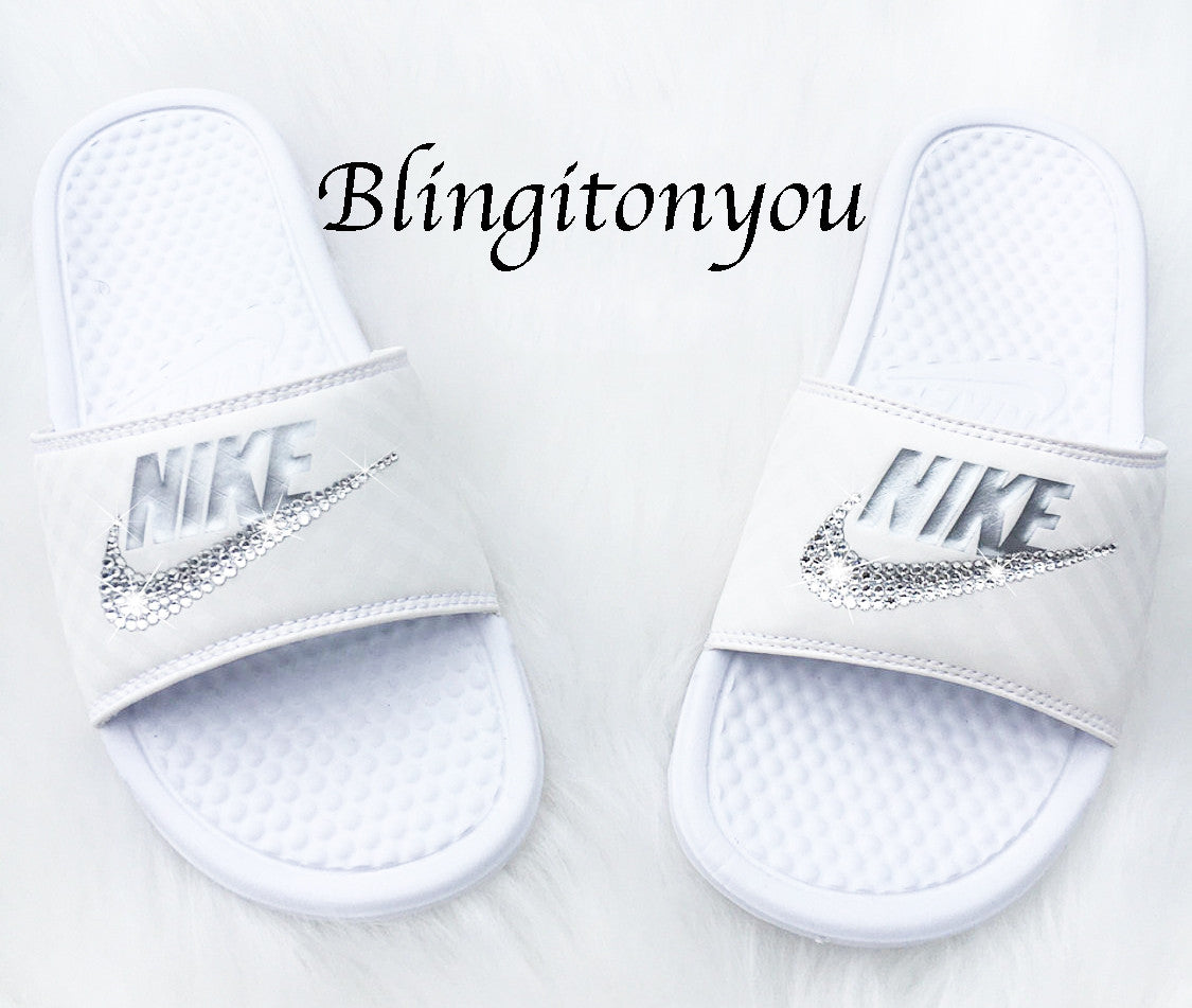ccc587f6fd09 New Women s Swarovski Nike Benassi White   Metallic Silver Slide Sandals  Customized with Clear Swarovski Crystal Rhinestones