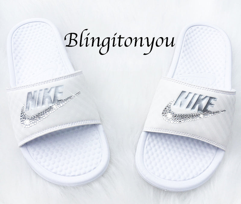 8717145d9afb8 New Women's Swarovski Nike Benassi White / Metallic Silver Slide Sandals  Customized with Clear Swarovski Crystal Rhinestones | Nike Bling ...