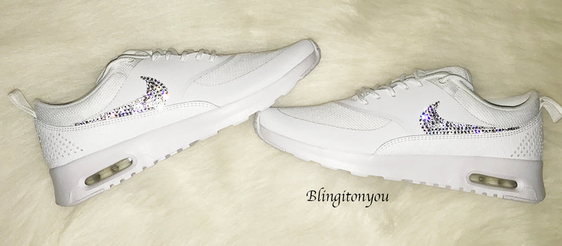 Same Shoes Worn By Paige Hathaway!! Swarovski Nike Women's Air Max Thea (White) Blinged with Swarovski Crystal Rhinestones