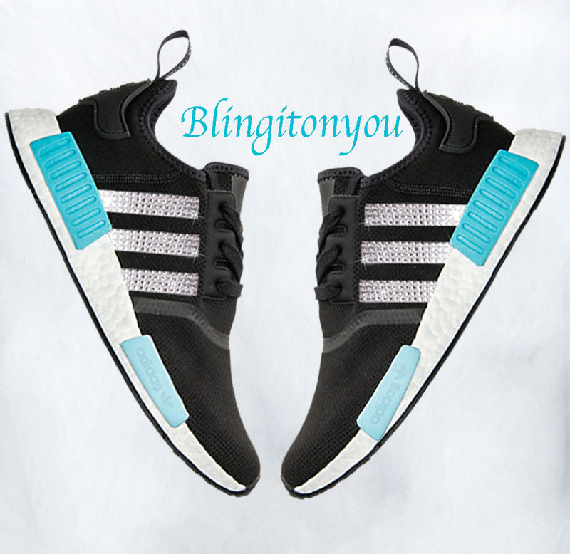 Swarovski Blinged Women's Adidas Blue & Black NMD R1 Casual Shoes Custom Blinged with Swarovski Crystal Rhinestones