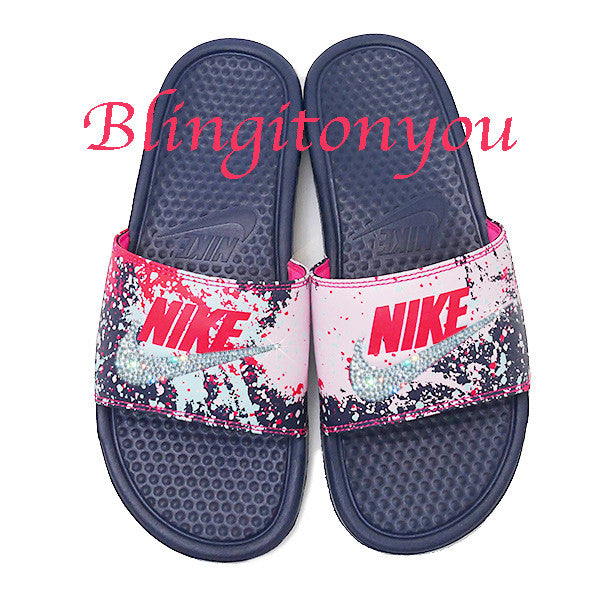 ee1f2d72b9b7 New Women s Swarovski Nike Benassi Slide Sandals Customized with Clear Swarovski  Crystal Rhinestones