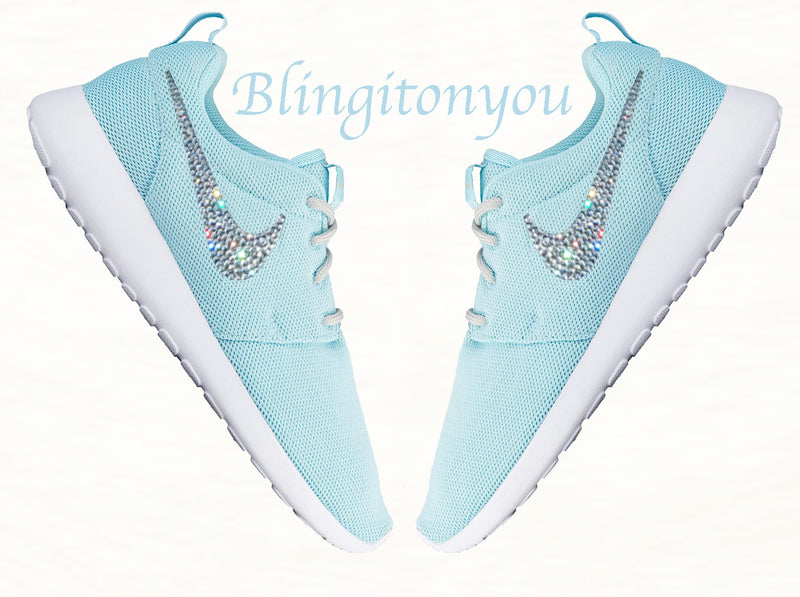 Swarovski Nike Roshe One Light Blue Women's Shoes Customized with Clear Swarovski Crystal Rhinestones