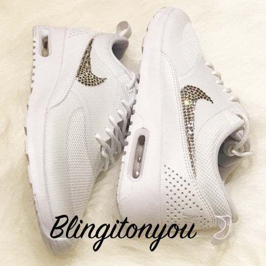 new product a222f 339fc ... Women s Swarovski Nike Air Max Thea Running Shoes White Blinged Out  With Swarovski Crystal Rhinestones -