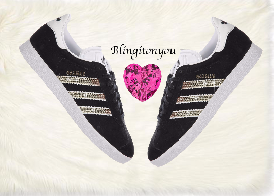 Women's Black Adidas Original Gazelle Shoes Bedazzled with Beautiful Swarovski Crystals | Blinged Adidas Women's Shoes