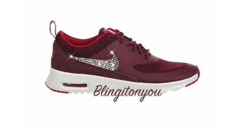US Women's Size 8.5 Custom Swarovski Blinged Nike Air Max Thea Maroon - Item runs a .5 size small!  Ready to ship