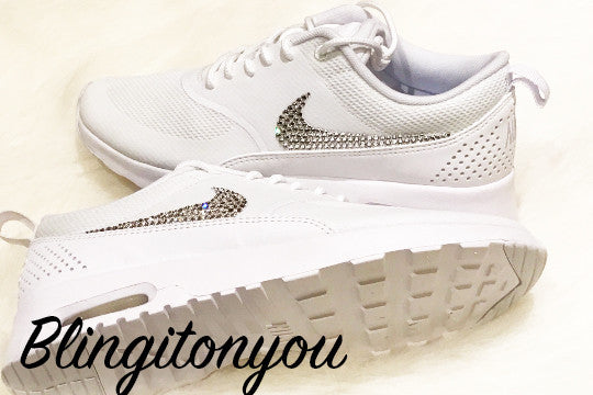 purchase cheap f1f7a 2f675 Women s Swarovski Nike Air Max Thea Running Shoes White Blinged Out With  Swarovski Crystal Rhinestones ...