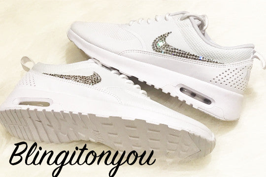 outlet store 94653 6aaf1 ... Women s Swarovski Nike Air Max Thea Running Shoes White Blinged Out  With Swarovski Crystal Rhinestones ...