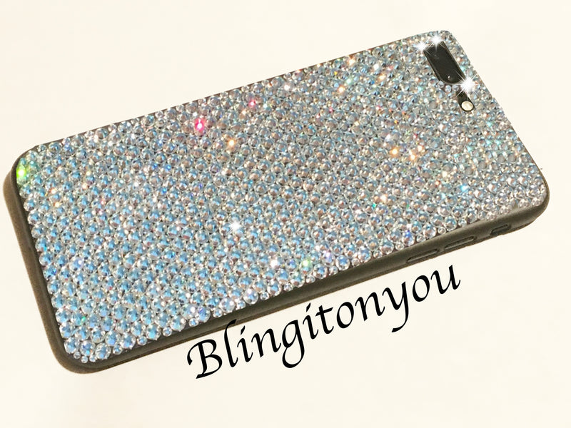 iPhone 6, 6S, 6 Plus, 7, 7 Plus, 8, 8 Plus Black or Clear Custom Cell Phone Case Bedazzled with Clear Swarovski Crystal Rhinestones | Bling