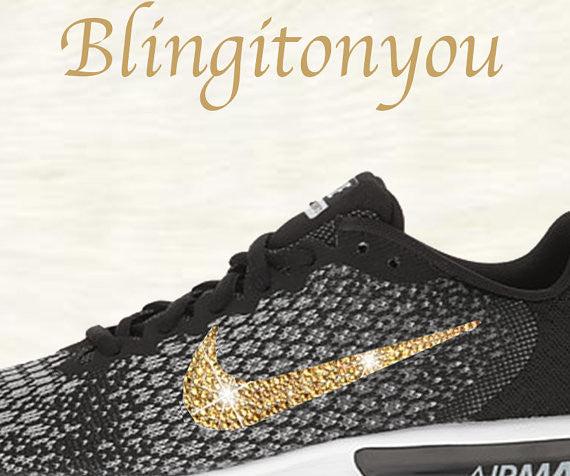 Swarovski Nike Air Max Sequent 2 Shoes Black Blinged Out With Gold Swarovski Crystals - Nike Air Max Swarovski Nike Shoes - Blingitonyou  - 4
