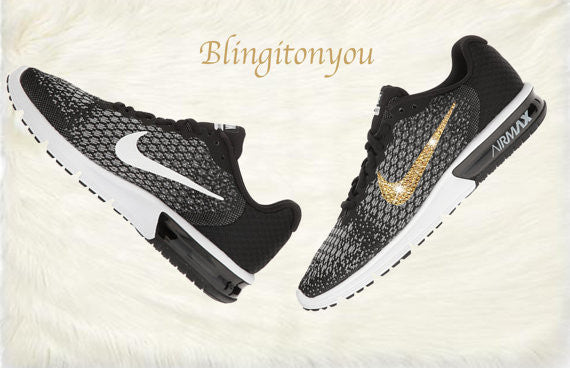 Swarovski Nike Air Max Sequent 2 Shoes Black Blinged Out With Gold Swarovski Crystals - Nike Air Max Swarovski Nike Shoes - Blingitonyou  - 5