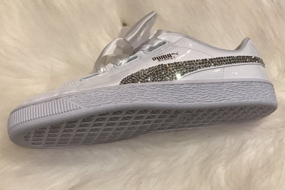 Size 8.5 White Puma Shoes Custom Blinged with Clear Swarovski Crystal Rhinestones - Ready to Ship