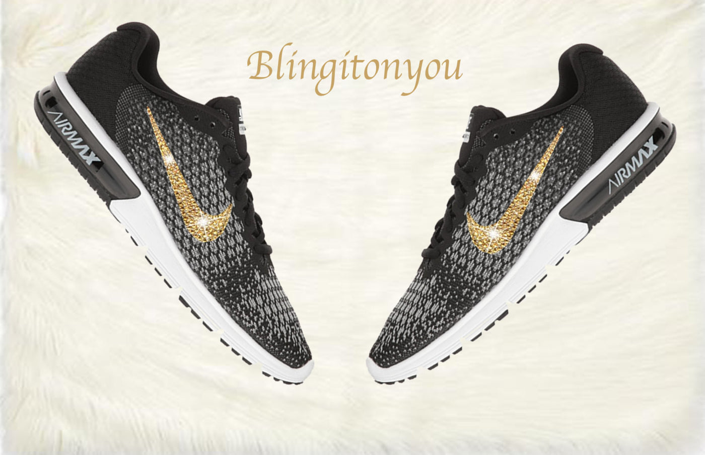 Swarovski Nike Air Max Sequent 2 Shoes Black Blinged Out With Gold  Swarovski Crystals - Nike ... 94347c2fea