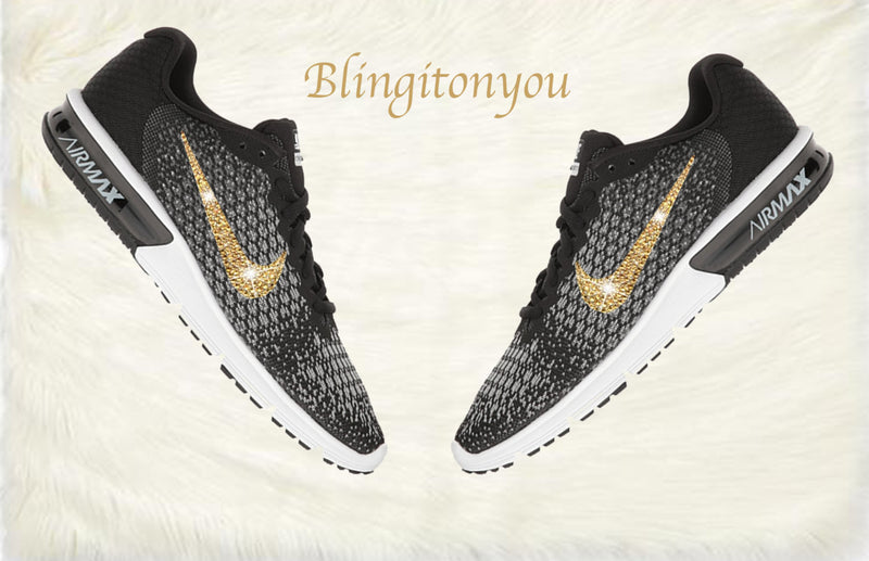 Swarovski Nike Air Max Sequent 2 Shoes Black Blinged Out With Gold Swarovski Crystals - Nike Air Max Swarovski Nike Shoes - Blingitonyou  - 1