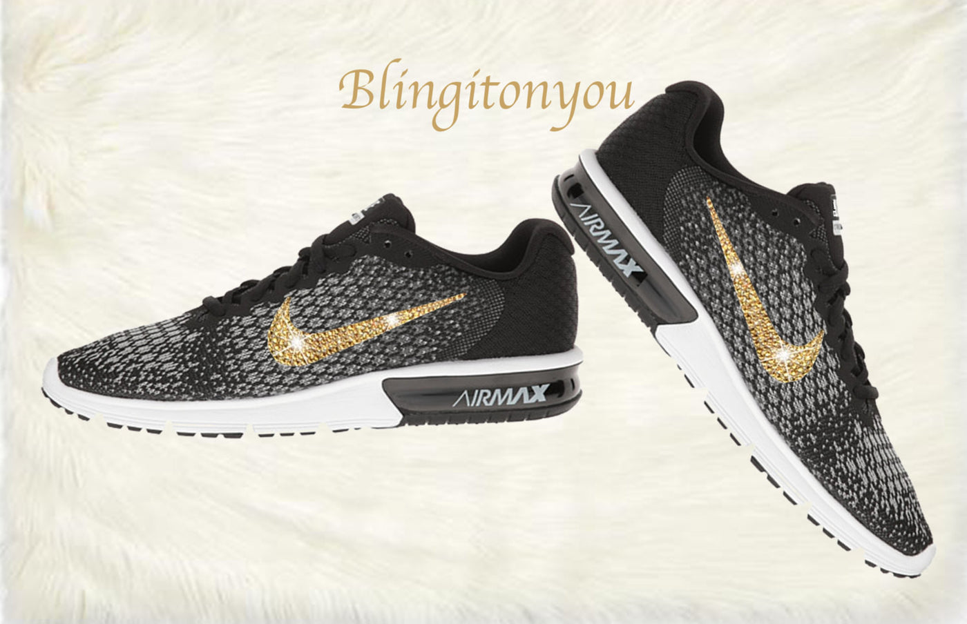 Swarovski Nike Air Max Sequent 2 Shoes Black Blinged Out With Gold Swarovski Crystals Nike Air Max Swarovski Nike Shoes