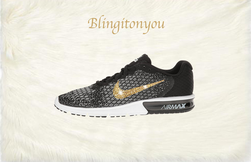 Swarovski Nike Air Max Sequent 2 Shoes Black Blinged Out With Gold Swarovski Crystals - Nike Air Max Swarovski Nike Shoes - Blingitonyou  - 3