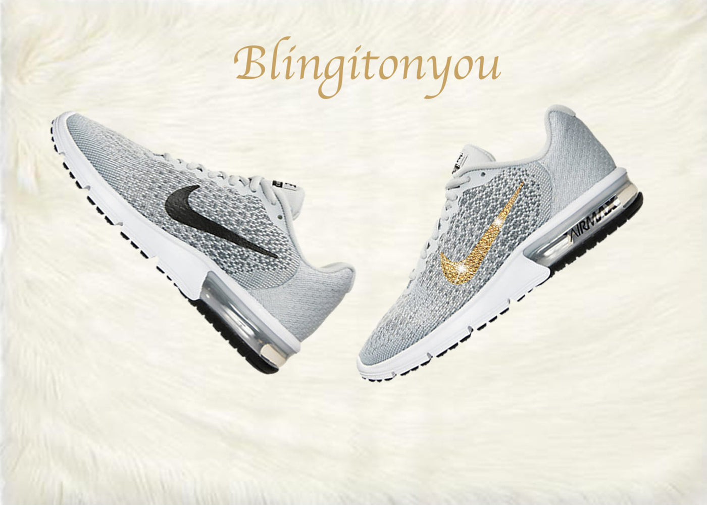 ... Swarovski Nike Air Max Sequent 2 Shoes Grey Blinged Out With Gold  Swarovski Crystals - Nike c1347b0e65