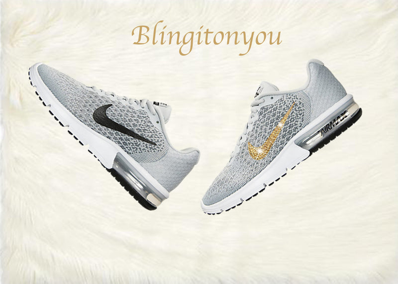 Swarovski Nike Air Max Sequent 2 Shoes Grey Blinged Out With Gold Swarovski Crystals - Nike Air Max Swarovski Nike Shoes - Blingitonyou  - 5