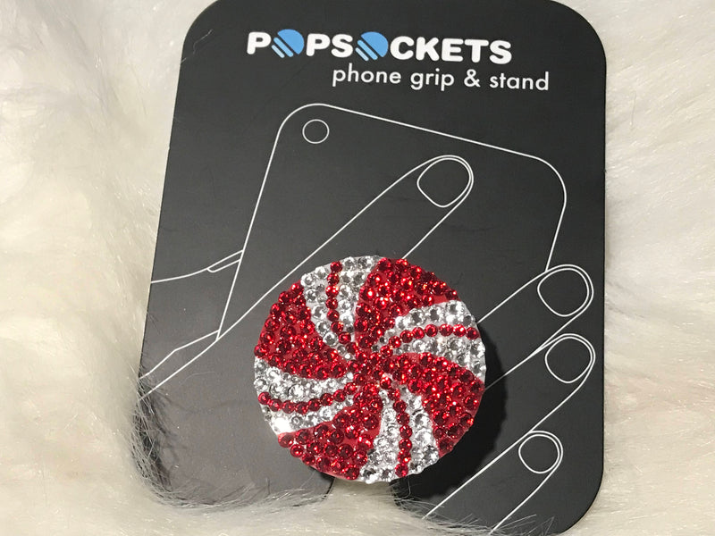 Custom Christmas Peppermint Popsocket Blinged with Clear and Red Swarovski Crystals - Perfect Stocking Stuffer!!!