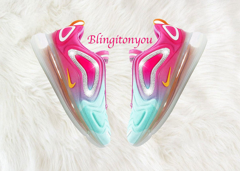 Swarovski Nike Air Max 720 Shoes Blinged Out With Swarovski Crystals Bling Nike Shoes Rainbow