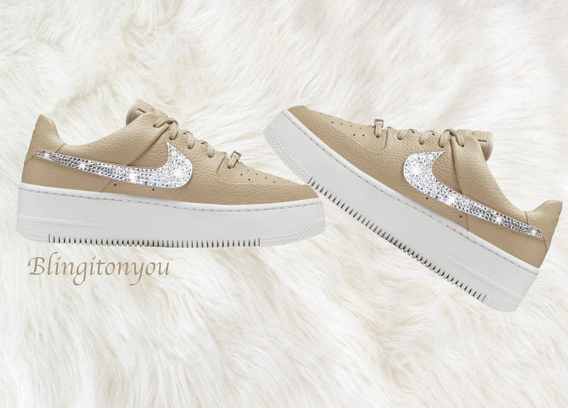 Swarovski Nike Air Force 1 Women's Shoes Blinged Out With Swarovski Crystals Bling Nike Shoes Color Sand