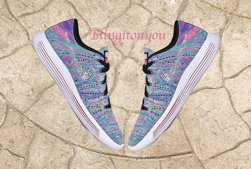 Blinged Women s Nike Lunarglide   Lunarepic Low Flyknit Shoes Bedazzled  with Swarovski Crystals a2220d7e6a5c