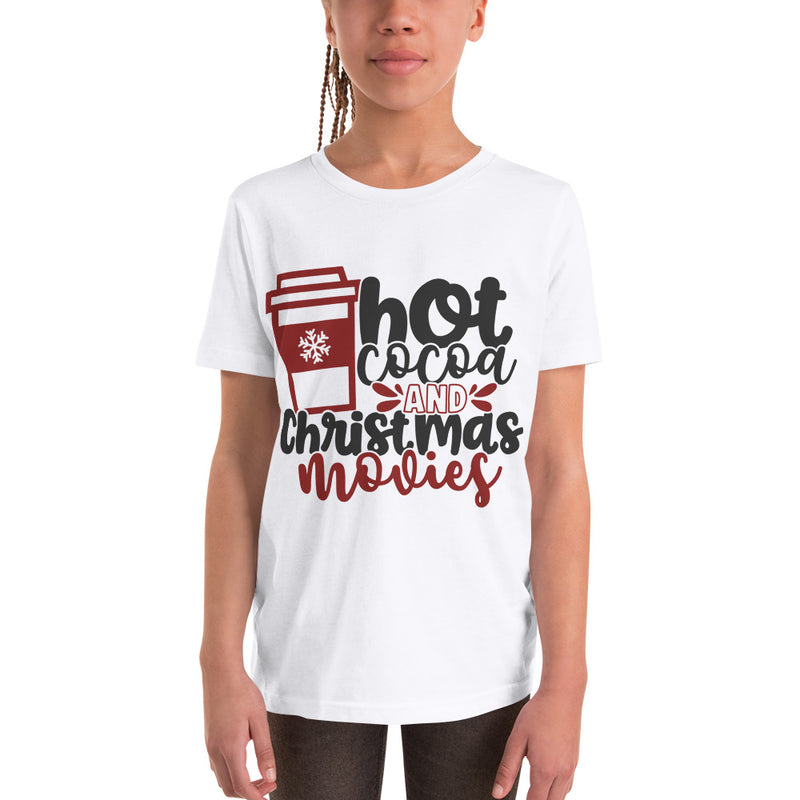 """Hot Cocoa and Christmas Movies"" Cute Holiday Youth Tee Shirt"