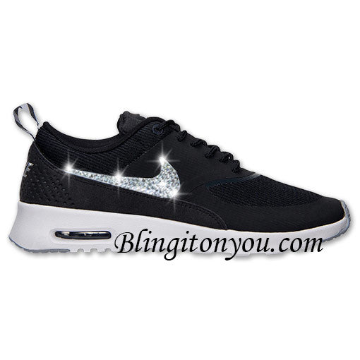 Blinged Nike Women's Thea Black, White & Gray Shoes Customized with Swarovski Crystals - Blingitonyou