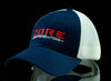 RED WHITE AND BLUE LOGO TRUCKER HAT
