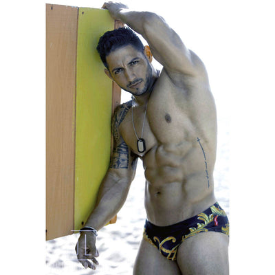 DANNY MIAMI Swimwear - Crown Black - Men Swimsuit Brief - Beach Trunks