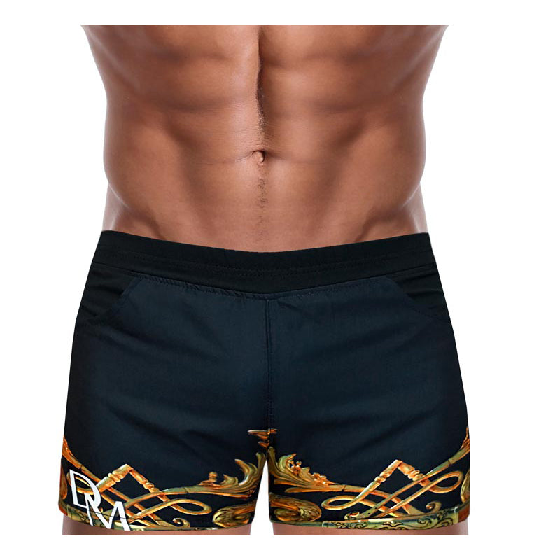 Men Swimwear Beach Short - Danny Miami luxury brand - Swimwear gym workout shorts  - Crown Black