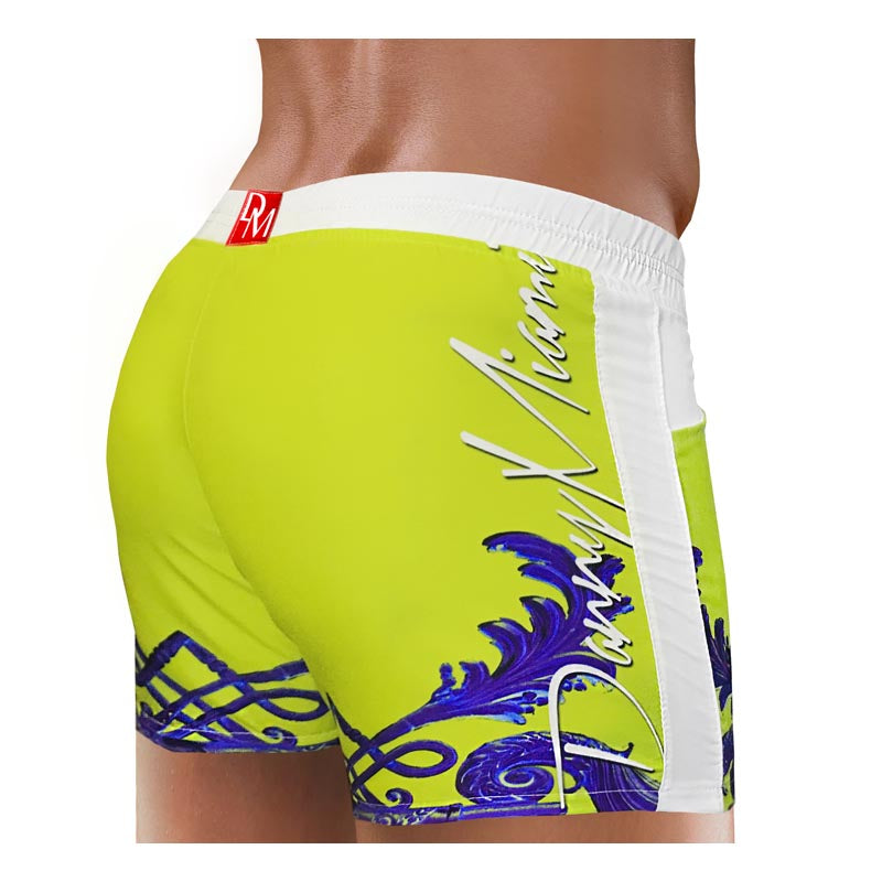 Men Swimwear Beach Short - Danny Miami luxury brand - Swimwear gym workout shorts  - Crown Yellow
