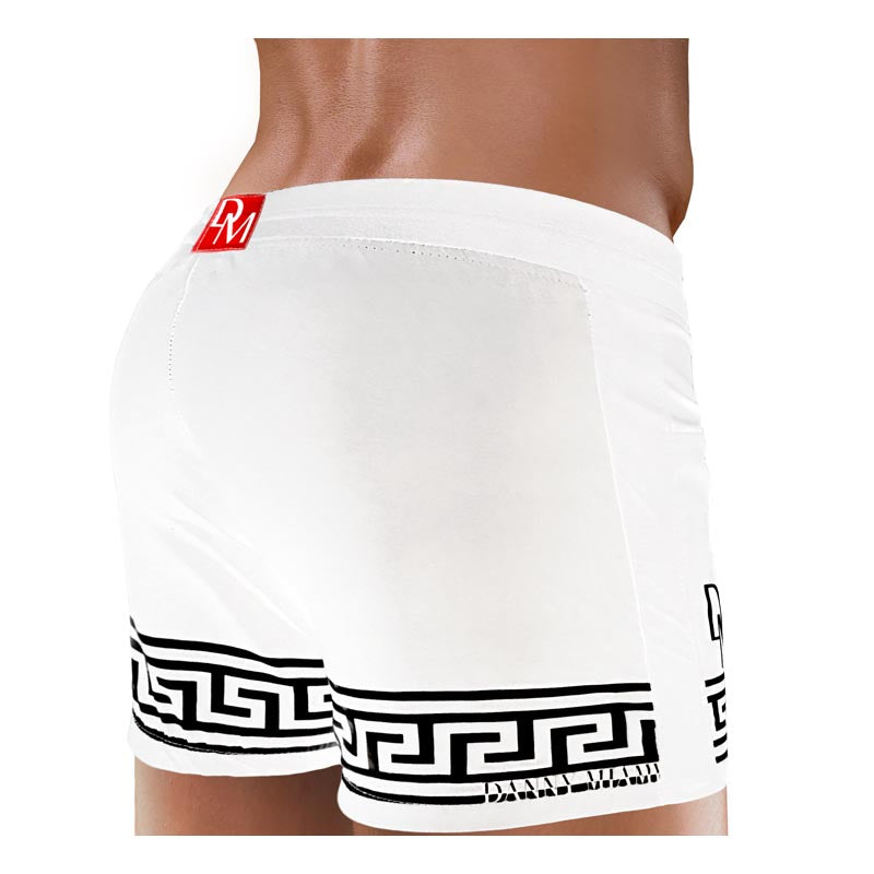 Men Swimwear Beach Short - Danny Miami luxury brand - Swimwear gym workout shorts  - White Greek