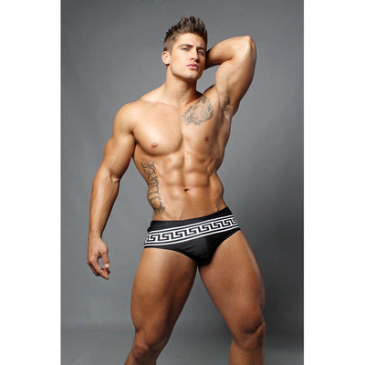 DANNY MIAMI Swimwear - Black Greek - Men Swimsuit Brief - Beach Trunks
