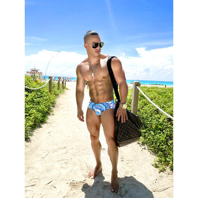 DANNY MIAMI Swimwear - Ritz Blue - Men Swimsuit Brief - Beach Trunks