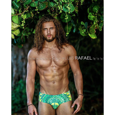 DANNY MIAMI Swimwear - Ritz Green - Men Swimsuit Brief - Beach Trunks