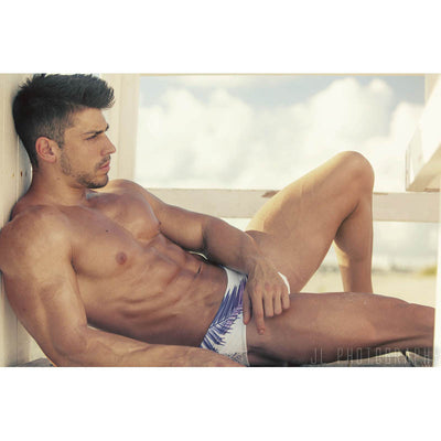 DANNY MIAMI Swimwear - White Palms - Men Swimsuit Brief - Beach Trunks