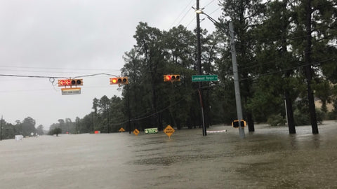 Water levels rising to street lights in certain locations