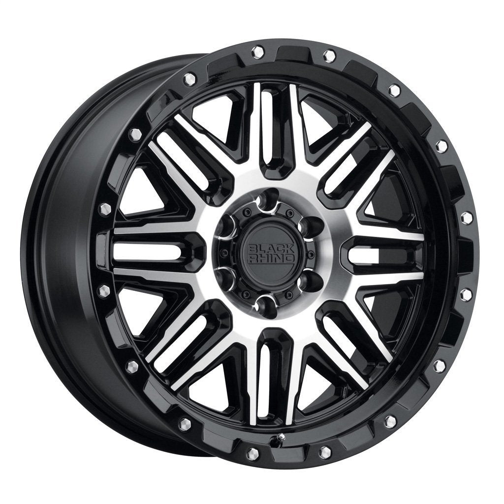 BLACK RHINO ALAMO 20x9.0 8/180 ET-18 CB125.1 GLOSS BLACK W/MACHINED FACE AND STAINLESS BOLTS Wheels Black Rhino