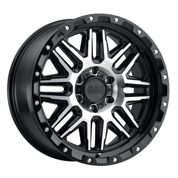 Black Rhino Alamo Wheels & Rims 18x9.0 8/170 ET-18 CB125.1 Gloss Black W/Machined Face & Stainless Bolts for Trucks & SUV