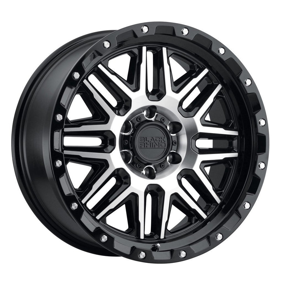 Black Rhino Alamo Wheels & Rims 20x9.0 8/180 ET06 CB125.1 Gloss Black W/Machined Face & Stainless Bolts for Trucks & SUV
