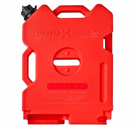 Rotopax 2 Gallon Gasoline Container, Dimensions 17 3/4 L x 13 1/4 W x 3 H - Made in USA | TreadWright