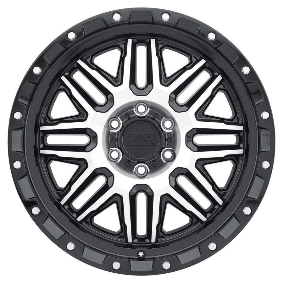 Black Rhino Alamo Wheels & Rims 20x9.0 8/170 ET-18 CB125.1 Gloss Black W/Machined Face & Stainless Bolts for Trucks & SUV