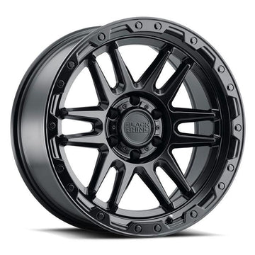 Black Rhino Apache Wheels & Rims 17x8.5 5/114.3 ET-18 CB71.6 Matte Black W/Black Bolts for Trucks & SUV