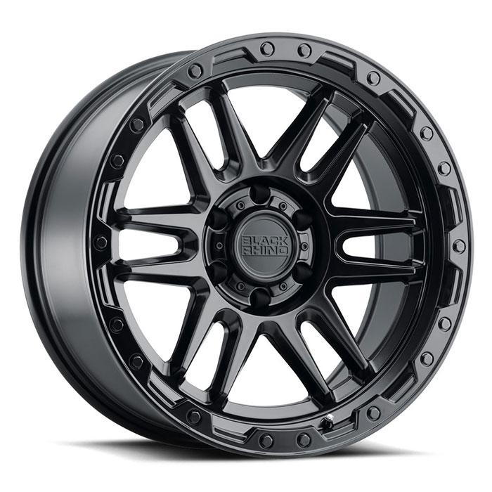 BLACK RHINO APACHE 17x8.5 5/127 ET-18 CB71.6 MATTE BLACK W/BLACK BOLTS Wheels Black Rhino