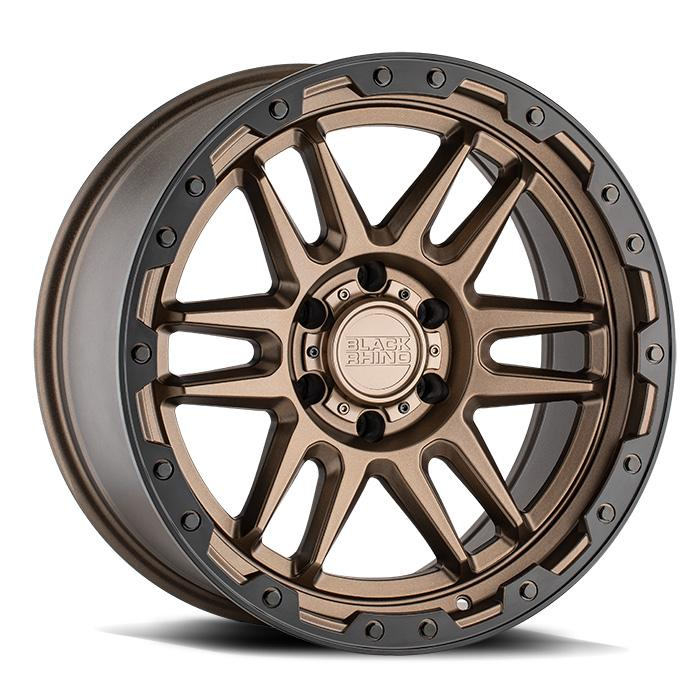 Black Rhino Apache Wheels & Rims 20X9.0 6/139.7 ET12 CB112.1 Matte Bronze W/Black LIP Edge & Bolts for Trucks & SUV