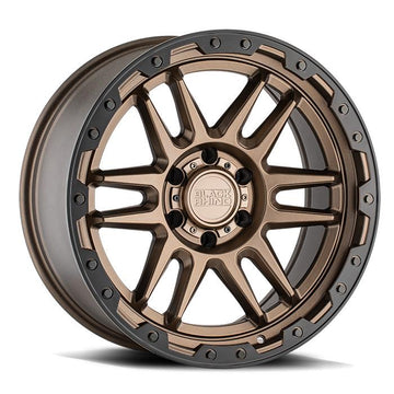 Black Rhino Apache Wheels & Rims 17x8.5 5/127 ET-18 CB71.6 Matte Bronze W/Black LIP Edge & Bolts for Trucks & SUV