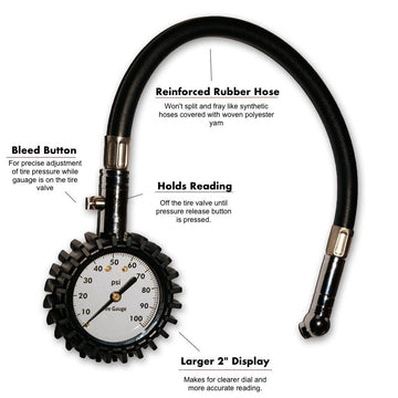 Heavy Duty Tire Pressure Gauge (0-100 PSI) - TreadWright