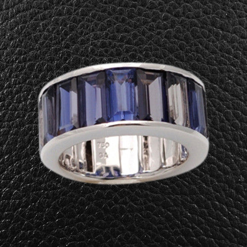 Emerald cut Iolite Ring